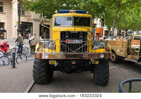 BERLIN - MAY 28: Soviet heavy truck KrAZ-255 the exhibition