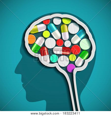 Human head with the brain and pills. Stock vector illustration.