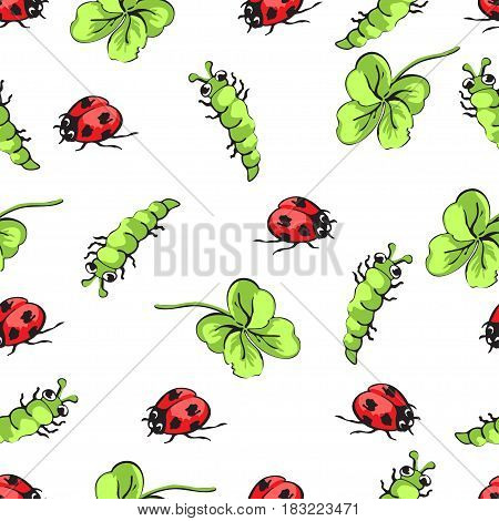 Cartoon hand drawing beetle ladybug, caterpillars and leaves clover seamless pattern, vector background. Funny insects on a white backdrop. For fabric design, wallpaper, decoration