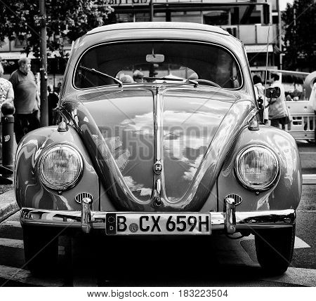 BERLIN - MAY 28: Car Volkswagen Beetle (Black and White) the exhibition