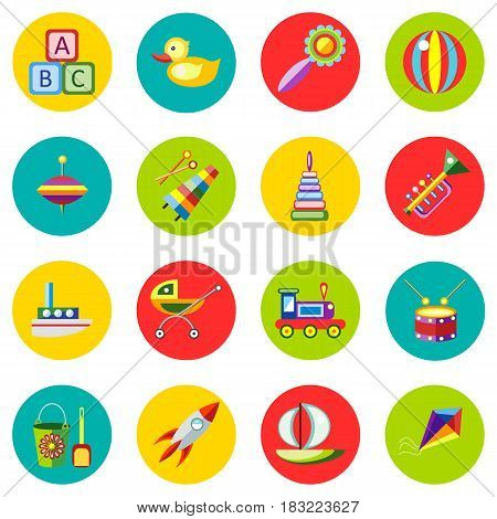 Icons of toys in the flat style. Vector image on a round colored background. Element of design, interface.