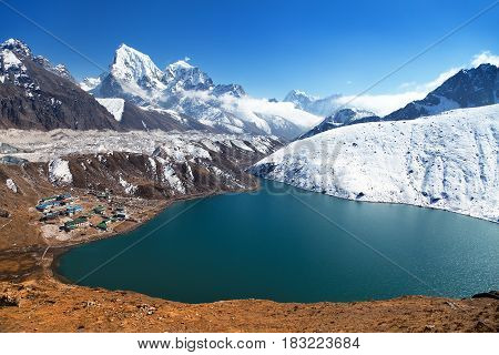 Dudh Pokhari Tso or Gokyo lake Gokyo village Ngozumba glacier Arakam tse peak and chola tse peak from Gokyo Ri - trek to Cho Oyu base camp Khumbu valley Sagarmatha national park Nepal