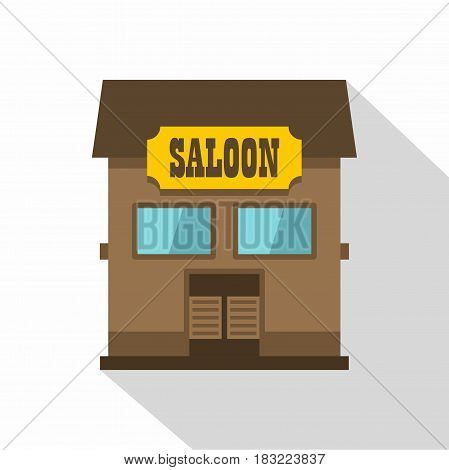 Western saloon icon. Flat illustration of western saloon vector icon for web on white background