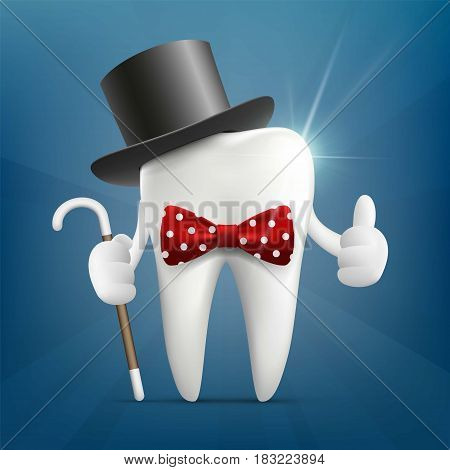 Human tooth in a hat, with a cane and a bow tie. Stock vector illustration.