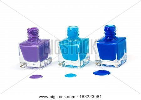 three blue nail polish isolated on the white background