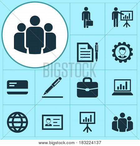 Job Icons Set. Collection Of Group, Diagram, Work Man And Other Elements. Also Includes Symbols Such As Identification, Presentation, Gear.