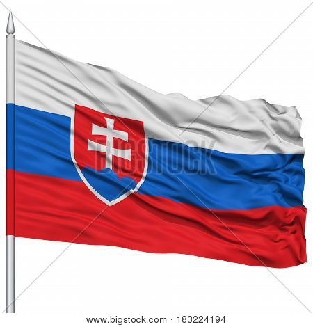 Slovakia Flag on Flagpole , Flying in the Wind, Isolated on White Background