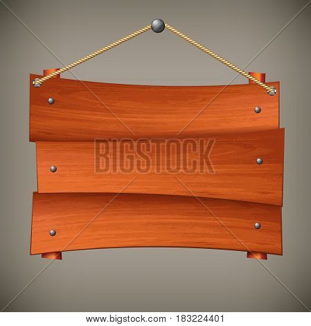 Wooden sign board hanging on rope on grey empty plank for notice vector illustration