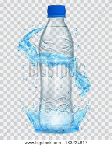 Transparent water crown and water splashes in light blue colors around a gray transparent plastic bottle with blue cap filled with mineral water. Transparency only in vector file