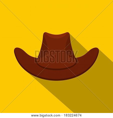 Brown cowboy hat icon. Flat illustration of brown cowboy hat vector icon for web on yellow background