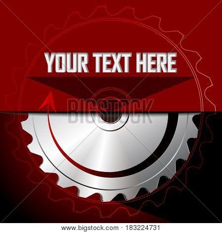 Circular saw blade on the red background. Place for text. Vector illustration
