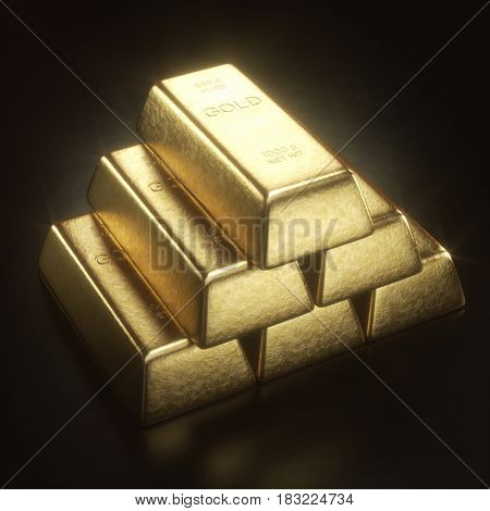 3D illustration. Gold bar 1000 grams. Concept of success in business and finance.