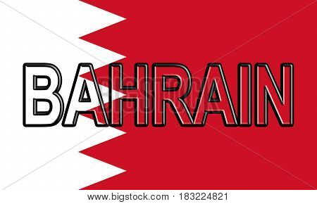 Flag Of Bahrain Word.