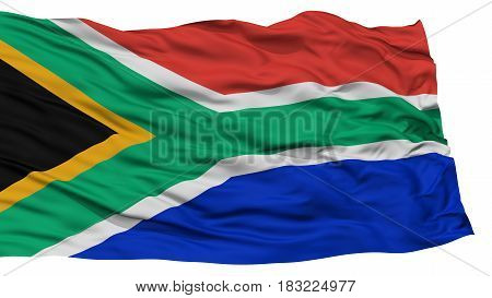 Isolated South Africa Flag, Waving on White Background, High Resolution