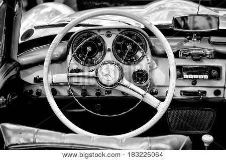 """BERLIN - MAY 28: Cab Mercedes-Benz 190 SL (Black and White) the exhibition """"125 car history - 125 years of history Kurfurstendamm"""" May 28 2011 in Berlin Germany"""