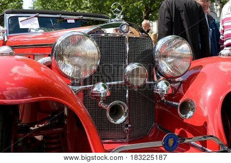 """BERLIN - MAY 28: Mercedes-Benz 500K Special Roadster in 1936 the exhibition """"125 car history - 125 years of history Kurfurstendamm"""" May 28 2011 in Berlin Germany"""