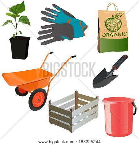 Very high quality original trendy vector set with garden tools like gloves, scoop, cart, shovelm crate