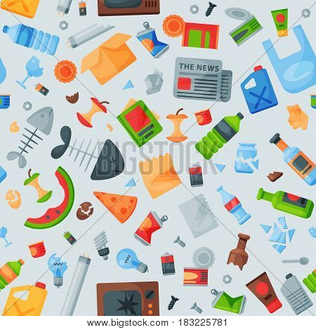 Recycling garbage seamless pattern trash bags tires management industry utilize concept and waste ecology can bottle recycling disposal box vector illustration. Eco pollution refuse service plastic.