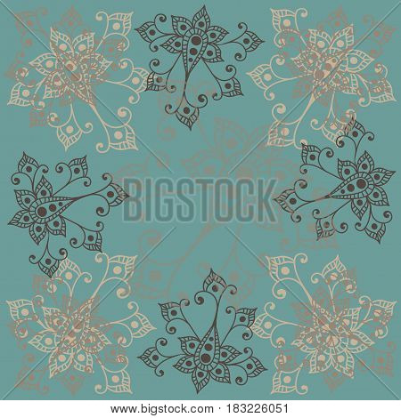 Color line flower in vintage style. Line flower for card coloring book and other design.