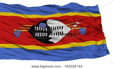 Isolated Swaziland Flag, Waving on White Background, High Resolution