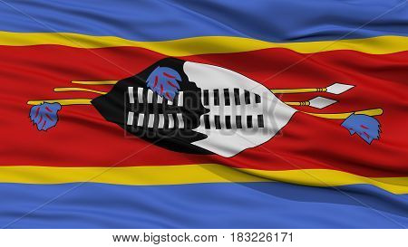 Closeup Swaziland Flag, Waving in the Wind, High Resolution