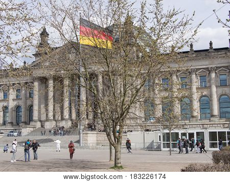 BERLIN GERMANY - APRIL 6 2017: Tourists At Berlin Reichstag