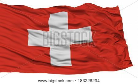 Isolated Switzerland Flag, Waving on White Background, High Resolution