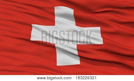Closeup Switzerland Flag, Waving in the Wind, High Resolution