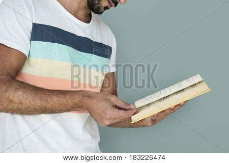 Man Holding Book Reading Studious