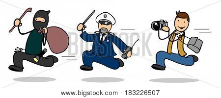 Cartoon of thief that escapes from policeman and photographer runs behind them