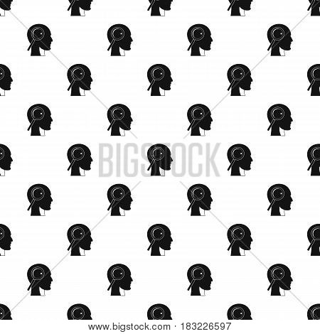 Magnifying glass in head pattern seamless in simple style vector illustration