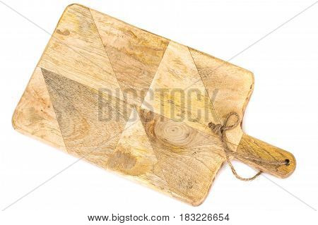 Kitchen wooden cutting board isolated on white background. Studio Photo
