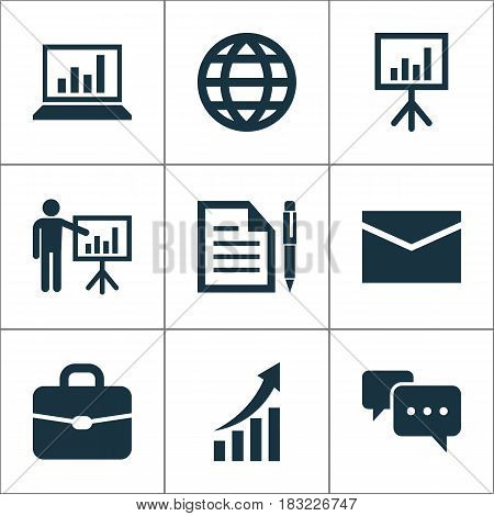 Trade Icons Set. Collection Of Earth, Contract, Presentation Board And Other Elements. Also Includes Symbols Such As Contract, Letter, Global.