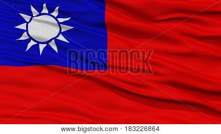 Closeup Taiwan Flag, Waving in the Wind, High Resolution