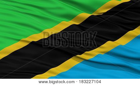 Closeup Tanzania Flag, Waving in the Wind, High Resolution