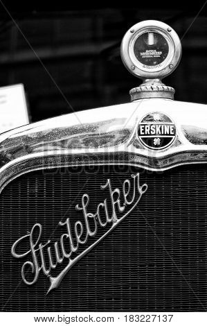 BERLIN - MAY 28: Radiator (engine cooling) and the emblem of the car Erskine (Studebaker) the exhibition