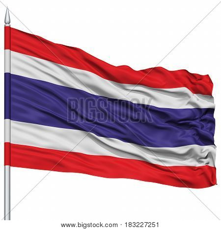 Thailand Flag on Flagpole , Flying in the Wind, Isolated on White Background