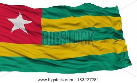 Isolated Togo Flag, Waving on White Background, High Resolution