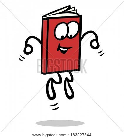 Funny jumping book cartoon character in color red