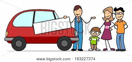 Cartoon of family with car dealer buying a car