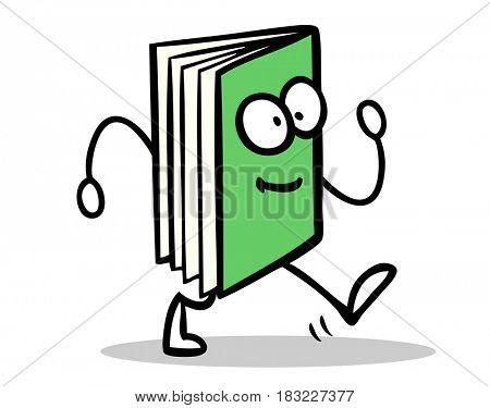 Green book as funny cartoon figure icon