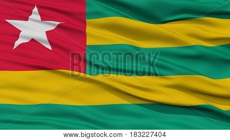 Closeup Togo Flag, Waving in the Wind, High Resolution