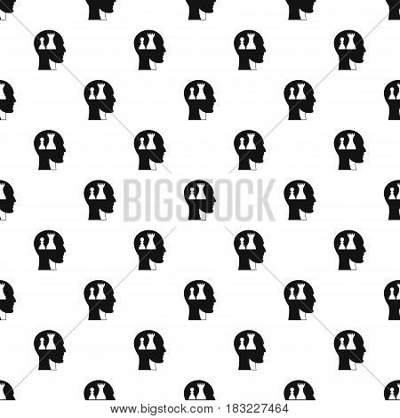 Head with queen and pawn chess pattern seamless in simple style vector illustration