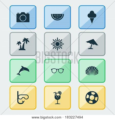Sun Icons Set. Collection Of Trees, Vitamin, Sunny And Other Elements. Also Includes Symbols Such As Camera, Tube, Trees.