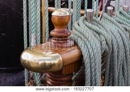 Marine rope. The detail of the tall ship.