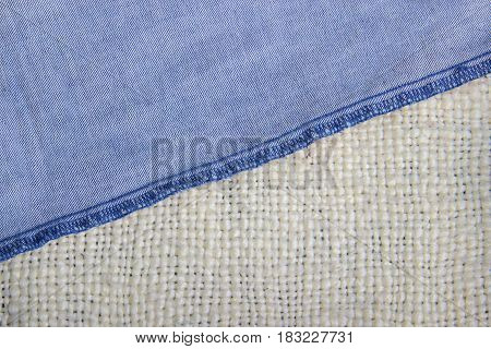 Denim Fabric On The Kraft Blanket Concept Of Old And New, Manual Labor And Industrialization White B