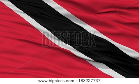 Closeup Trinidad and Tobago Flag, Waving in the Wind, High Resolution