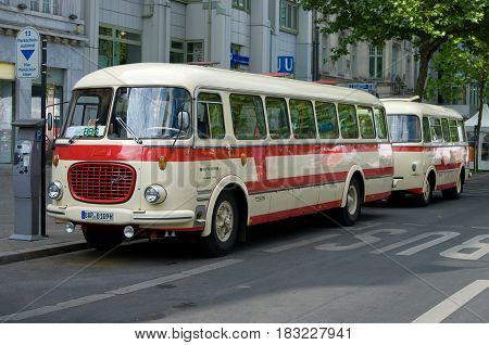 BERLIN - MAY 28: Bus Skoda 706 RTO (Karosa) the exhibition