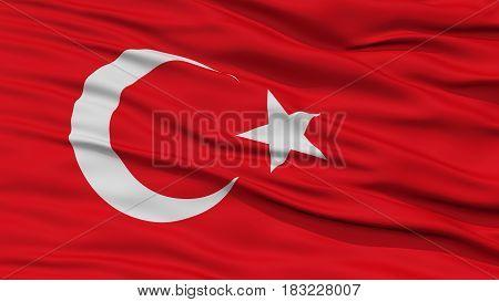 Closeup Turkey Flag, Waving in the Wind, High Resolution
