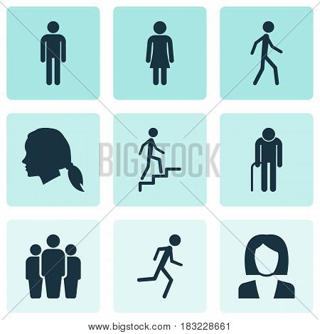 Human Icons Set. Collection Of Gentlewoman Head, Female, Businesswoman And Other Elements. Also Includes Symbols Such As Gentlewoman, Grandpa, Running.